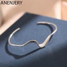 ANENJERY – bracelets en argent Sterling 925 pour femmes, bijou ouvert, forme géométrique ondulée, cadeau, vente en gros, S-B539