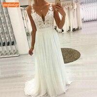 Sexy Boho V Neck White Wedding Dresses Sleeveless Lace Applique Draped Chiffon A Line Wedding Gowns Long Ivory Beach Bride Dress