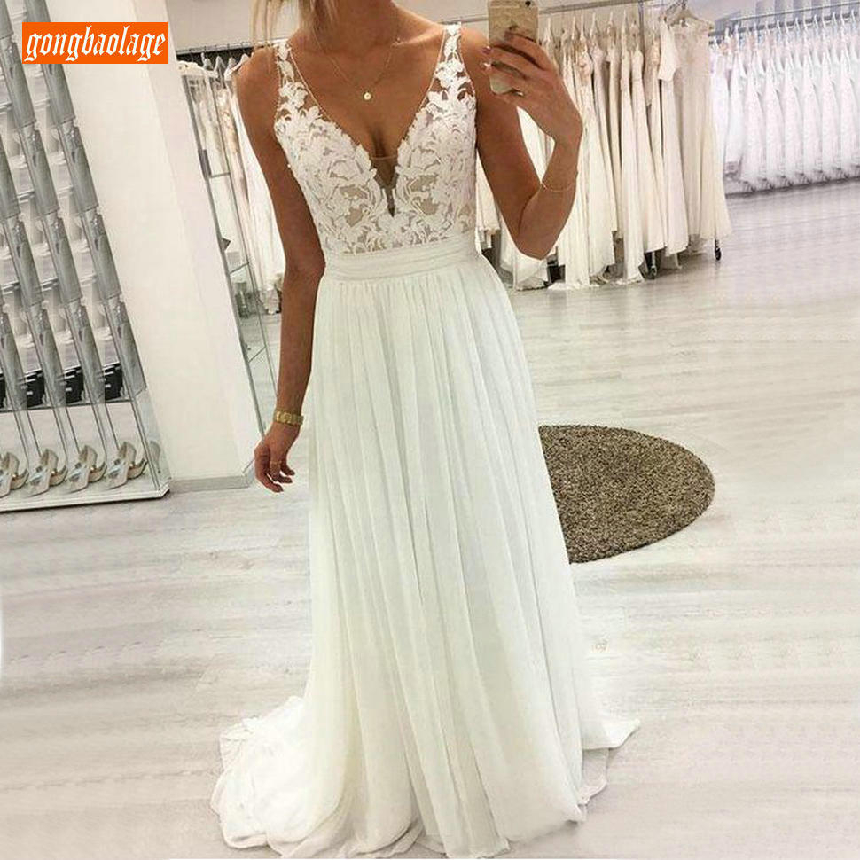 Sexy Boho V Neck White Wedding Dresses Sleeveless Lace Applique Draped Chiffon A Line Wedding Gowns Long Ivory Beach Bride Dress