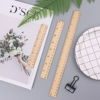 1Pcs 15cm 20cm 30cm Wooden Ruler Double Sided Student Office School Measuring Tool Stationery Straight Photography Props - discount item  25% OFF Drafting Supplies