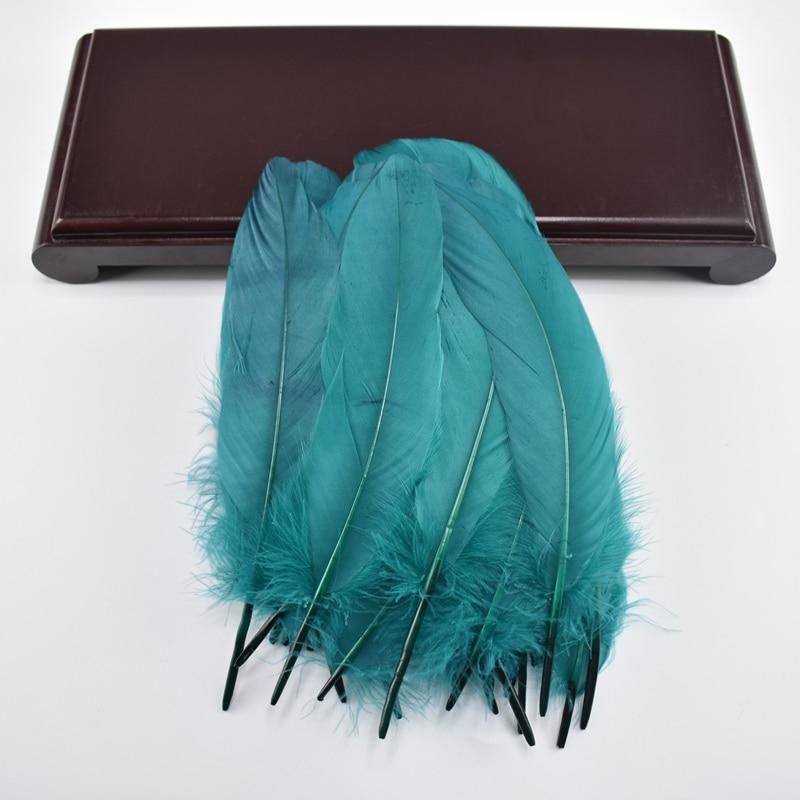 Жесткий полюс, натуральные гусиные перья для рукоделия, 5-7 дюймов/13-18 см, самодельные ювелирные изделия, перо, свадебное украшение для дома - Цвет: Lake blue