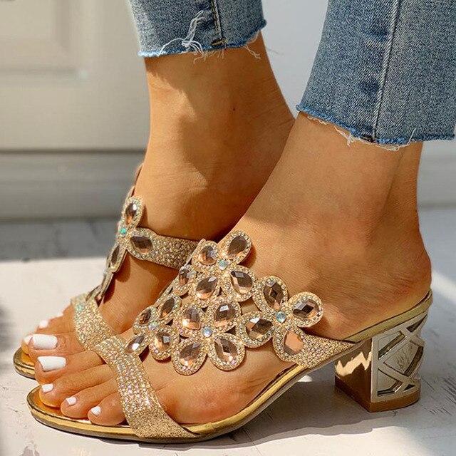 Summer Women Slipper Crystal Peep Toe Print Bohemian Casual Shoes Beach Sandals Ladies Shoes Platform Mules Sandalias De Mujer Uncategorized Fashion & Designs Ladies Shoes Women's Fashion