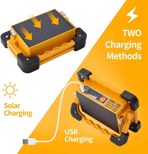 Powerful 160w led work light solar work lights 18000lm cob lantern 9000mah power bank with magnetic base for car repairing