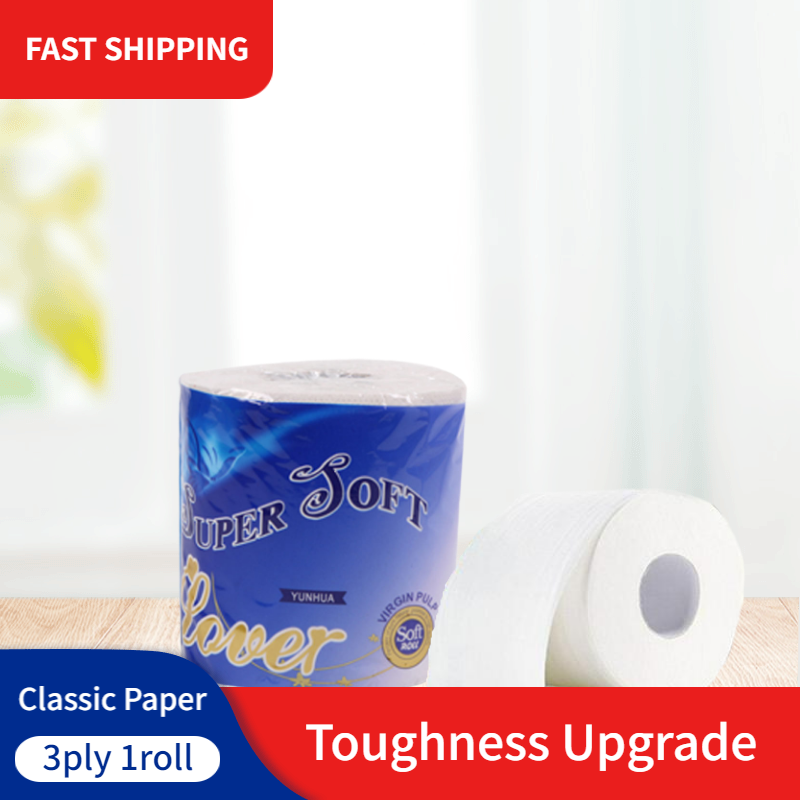 1 Roll 3ply Toilet Tissue Super Soft Tissue Paper Hollow Replacement Rolling Paper Household Living Room Bathroom Tissue Paper
