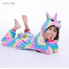 Пижамы кигуруми с радужным единорогом для детей; пижамы для маленьких девочек; одежда для сна для мальчиков; одежда для сна с животными; панда; единорог; комбинезон; Детский костюм