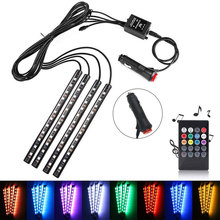 BRELONG Car LED Strip, 48 LED Multicolor Car Interior Light Waterproof Kit With Sound Active Function, Car Charger / USB