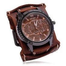 Jessinsghow New Fashion Mens Watches Luxury Big Dial Quartz Lovers Watch Wide Leather Punk Bracelet Sport Watch Men Gift
