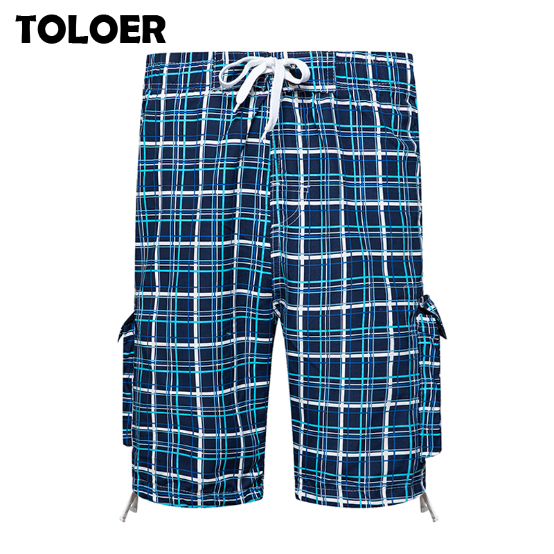 Long Shorts Men Plaid Capris Cotton Summer 3/4 Length Trousers Pocket Bermuda Beach Shorts Male Vogue Elastic Waist Breeches Men