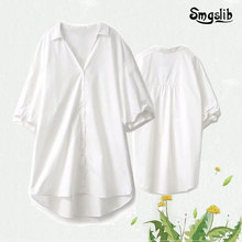 2019 england simple white loose long shirt kimono blouse women womens tops and blouses plus size Home-style clothes