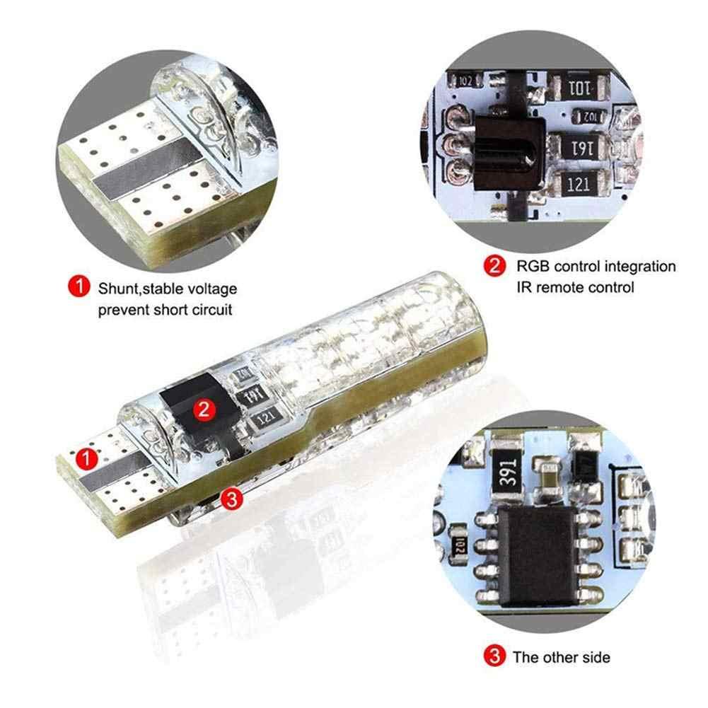 2Pcs T10 RGB LED Auto Licht Led-lampen W5W RGB Mit Fernbedienung 194 168 501 Strobe Led Lampe lesen Lichter Weiß Rot Bernstein 12V