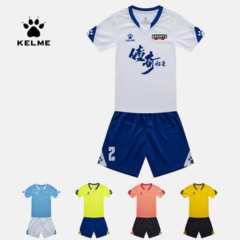 KELME koszulka piłkarska piłka nożna dla dzieci jednolite lato dostosowane strój treningowy Uniform dla drużyny sportowej dziecko 3803099 tanie i dobre opinie Dobrze pasuje do rozmiaru wybierz swój normalny rozmiar CN (pochodzenie) POLIESTER SHORT