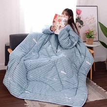Multifunction Lazy Quilt with Sleeves Winter Warm Thickened Washed Quilt Blanket JA55