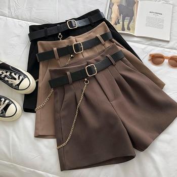 2021 New Casual Comfortable Elegant Wild Shorts With Belt Women's Woolen Shorts Autumn Winter Slim Wide Leg A-line Shorts 1