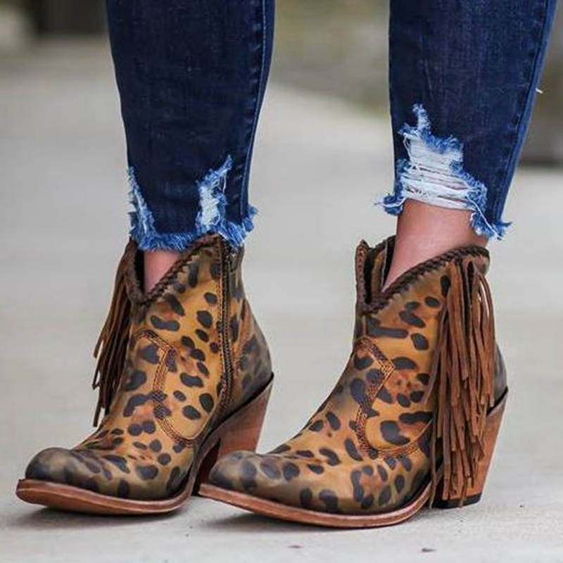 LOOZYKIT High-Heel Boots Shoes Tassel Leopard Pointed-Toe Fashion Slip-On Print Ankle