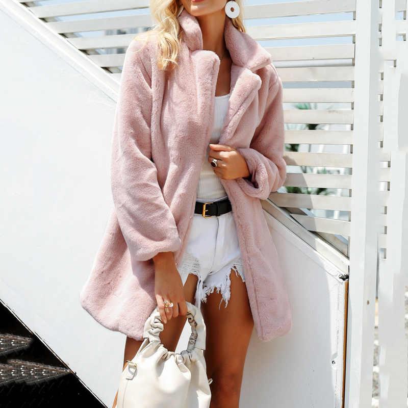 Plus size casaco de pele de cordeiro feminino casaco de pele longo solto inverno peludo casacos elegantes casuais engrossar quente de pelúcia do falso casaco de pele 3xl
