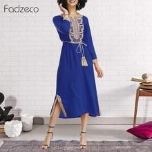 Fadzeco African Dresses for Women Dashiki Elegant Long Robe Muslim Print Maxi Dress Casual Enbroidery Ethnic Tribal Gown