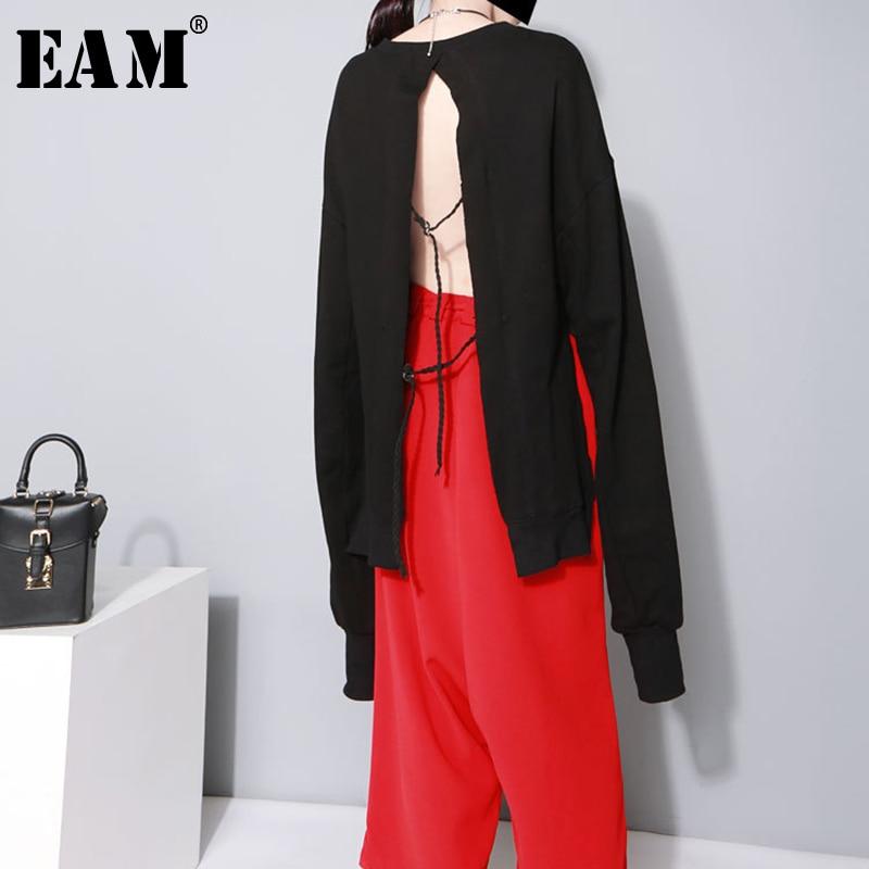 [EAM] 2020 New Spring Autumn Round Neck Long Sleeve Black Back Bandage Hollow Out Big Size Sweatshirt Women Fashion Tide JO2840