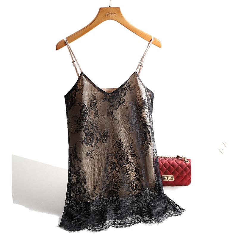Sexy Lace Spaghetti Strap Top Women Halter V Neck Basic Cami Sleeveless Satin Silk Tank Tops 2020 Summer Camisole Plus Size