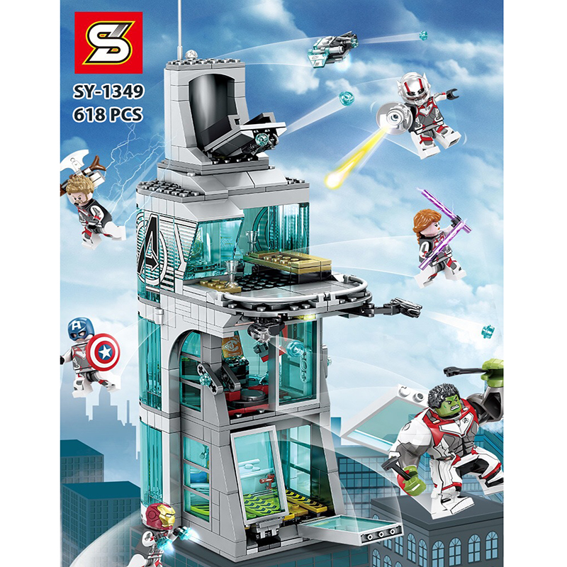 Marvel superhero Iron Man Attack on Avengers Tower Building blocks bricks Compatible lepinglys <font><b>76038</b></font> Kid Architecture Toys Gift image