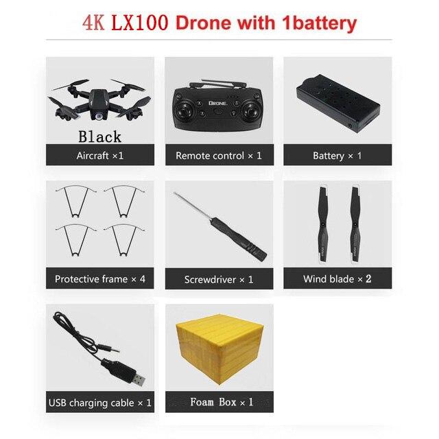 LAUMOX LX100 Радиоуправляемый Дрон с 4 K/1080 P HD камерой оптическое позиционирование потока wifi FPV складной Квадрокоптер вертолет дроны следуем за мной - Цвет: 4K 1B FB B