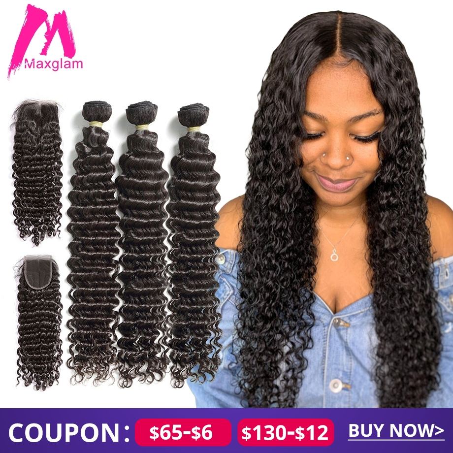 Deep Wave Bundles With Closure Human Hair Extension 30 40 Inch Brazilian Natural Remy Weave 3 4 Bundles For Black Women Hd Lace