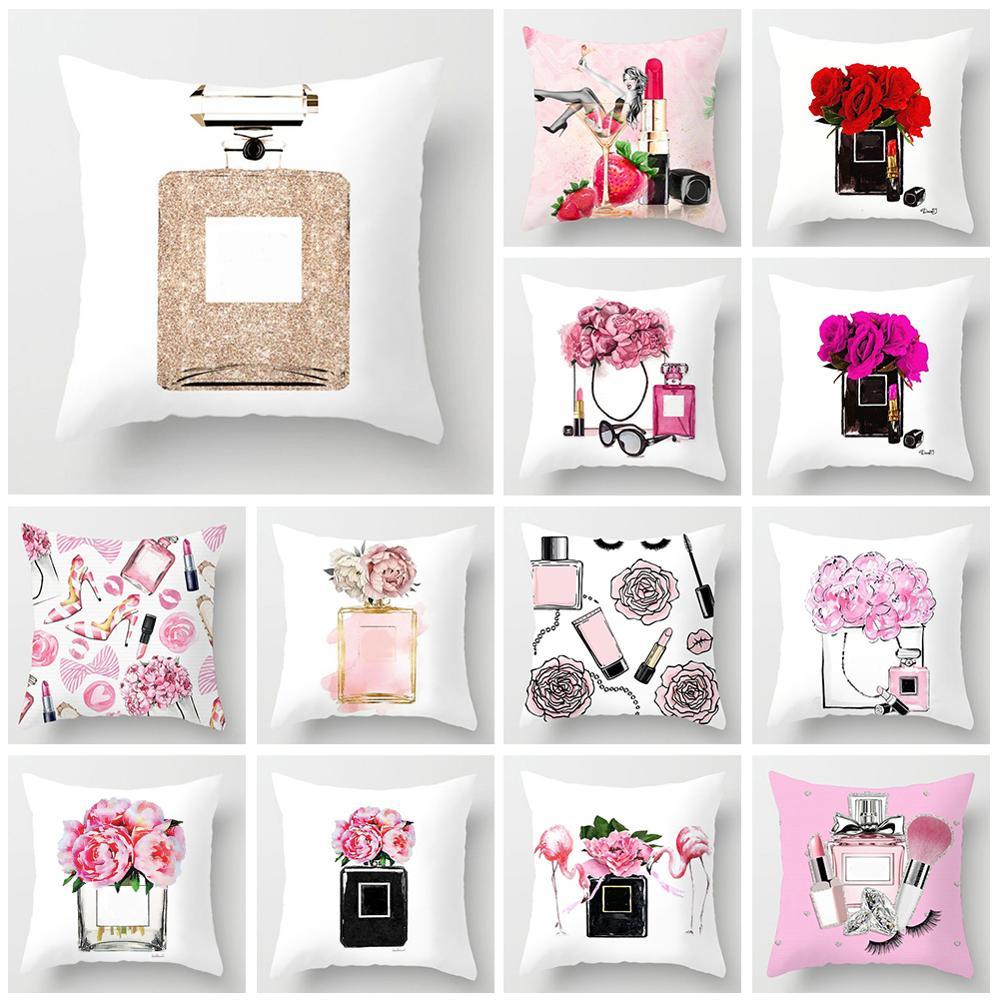 45x45cm Chair Cushion Cover For Sofa Super Soft Flower & Bottle Printed Pillowcase Home Decorative Pillow Cover