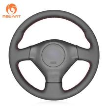 MEWANT Black Artificial Leather Hand Sew Wrap Car Steering Wheel Cover for Subaru Forester 2005-2008 Impreza 2005-2007 (WRX STI)