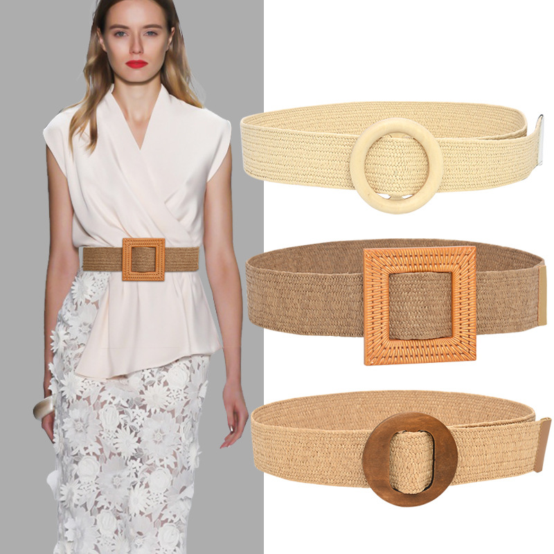 Belt Female Cool Ins Decoration Non-porous Waist Seal Wild Wooden Buckle Elastic Belt Elastic PP Grass Raffia Woven Wide Belt