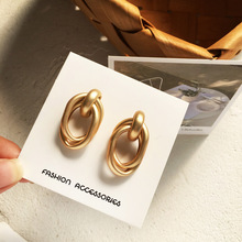 New Fashion metal matte earring temperament hip hop oval golden earrings women jewelry girl student gifts