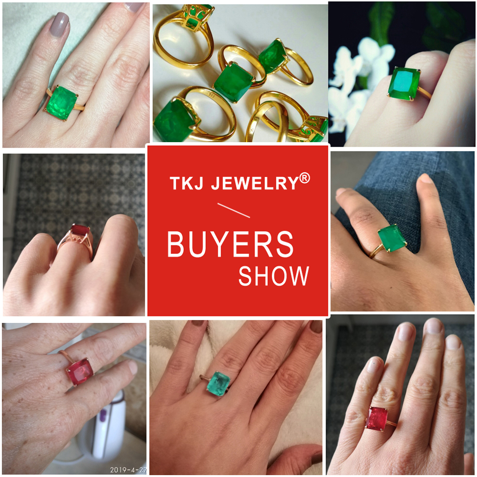 H15636bcf7c2d42799ac652bf7abd060dP TKJ Real 925 Silver Ring Square Ruby and Emerald Ring Wedding Engagement Rings For Women Fine Jewelry Accessories Gifts