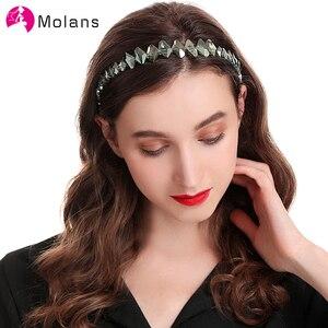 Molans nowy Handmade DIY Hairbands Ivory inny rozmiar Pearl opaski dla kobiet turkusowy kryształ kamień perły aluminiowe opaski do włosów