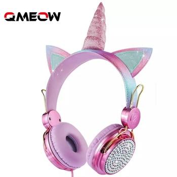Cartoon Unicorn Wired Headphone Girls Daughter Music Stereo Earphone Computer Phone Headset Kids Gift Cute Unicorn With Mic