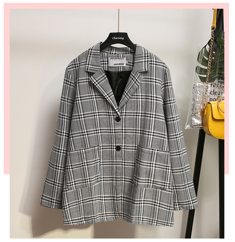2019 Autumn Fashion Long-sleeved Ladies Jacket Large Size Casual Loose Large Size Plaid Blazer Women's Double Pocket Office Top