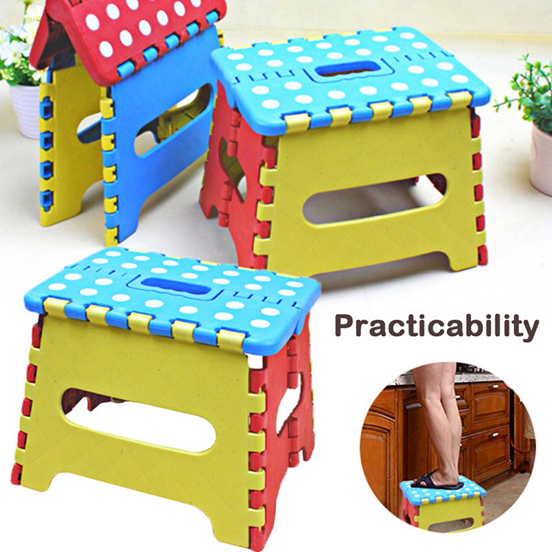 New Kid Safety Folding Stool Outdoor Activity Home Traveling Necessity House Supplies Furniture Plastic Dot Durable Lovely Chair