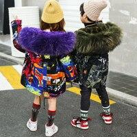 Winter Thicken Warm Children Parkas Fleece Mink Cashmere Fur Baby Kids Overcoats Fur Hooded Graffiti Boys Girls Jackets 4 15T