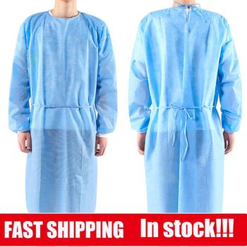 10pcs  PPE Suit Isolation Gowns  Adult Disposable Gowns Blue Protective Gowns Dust-proof Isolation Clothes Labour Suit Non-woven
