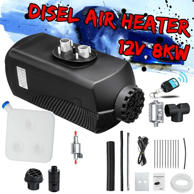 12 v 8kw carro diesels ar aquecedor de estacionamento aquecedor de carro lcd controle remoto monitor interruptor + silenciador para caminhões ônibus reboque aquecedor