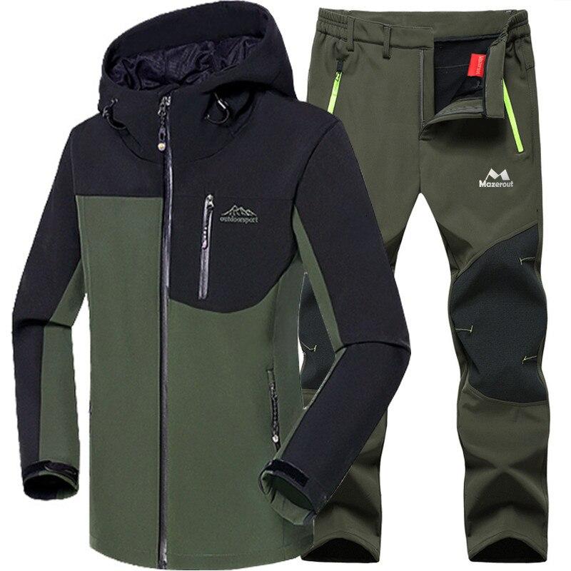 Hiking Jacket Set Winter Softshell Waterproof Men Fishing Skiing Warm Fleece Thick Coat Outdoor Trekking Camping Pants 5XL Climb