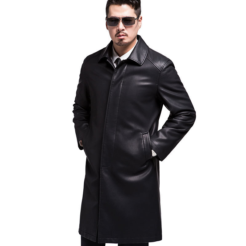 New European And American Style Men Genuine Leather Coats Long Section Sheepskin Jacket And Coat Male Leather Coat Winter Style