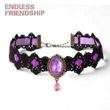Tattoo Lace Choker Necklace Women Vintage Faux Semi-precious Stone Crystal Choker Necklace Gothic Punk Collar Jewelry цена 2017