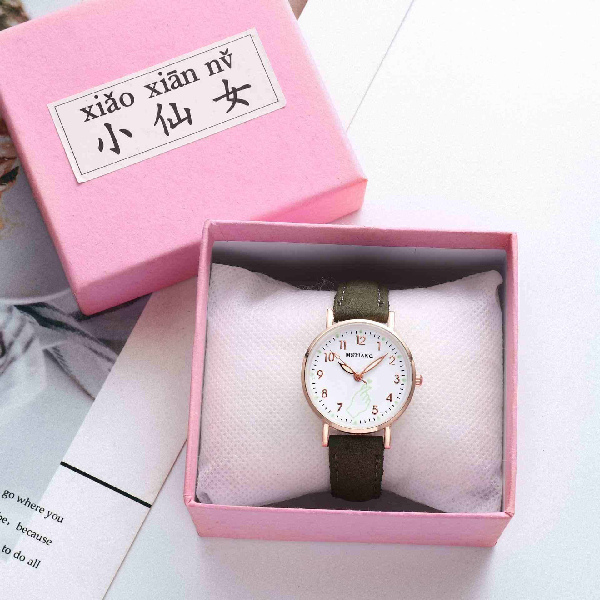 Montres lumineuses pour femmes, bracelet Simple et tendance, horloge à Quartz, bracelet en cuir décontracté