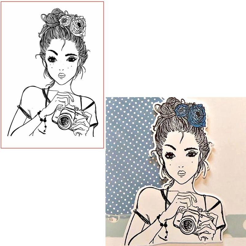 Hair Up Girl Photographing Clear Stamps Lady For DIY Card Making Kids Transparent Silicone Stamp New 2019