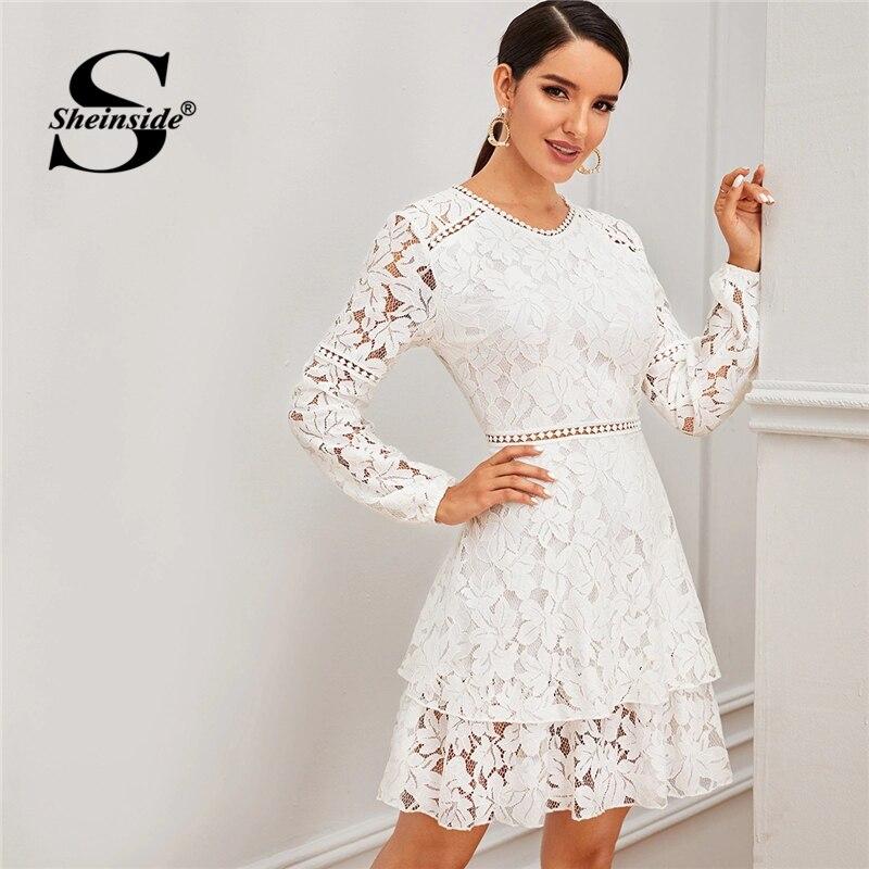 Sheinside White Contrast Lace Party Dress Women 2019 Autumn Sheer Lace Zipper Back Mini Dresses Ladies Layered Lace Dress