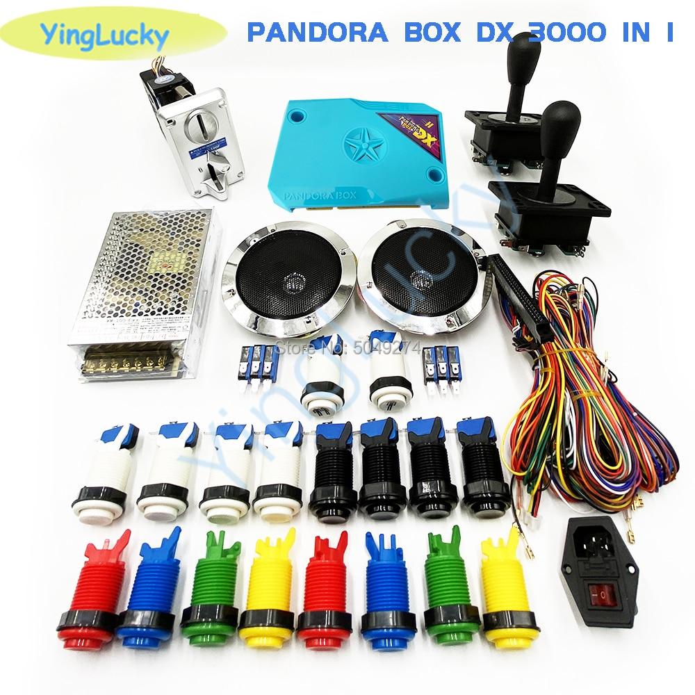 3D pandora box DX arcade kit with American joystick happ button jamma cable game arcade board built 3000