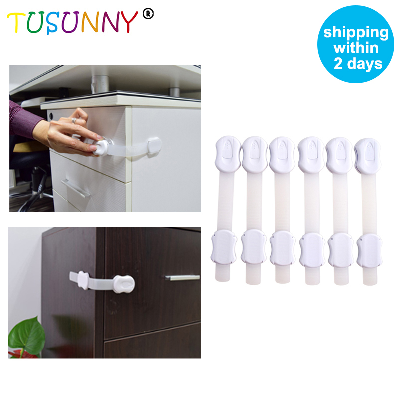 TUSUNNY 6 Pcs Multifunction  Baby Safety Adjustable Protection  In Drawer Cabinet ,Lock For The Door Toilet Refrigerator