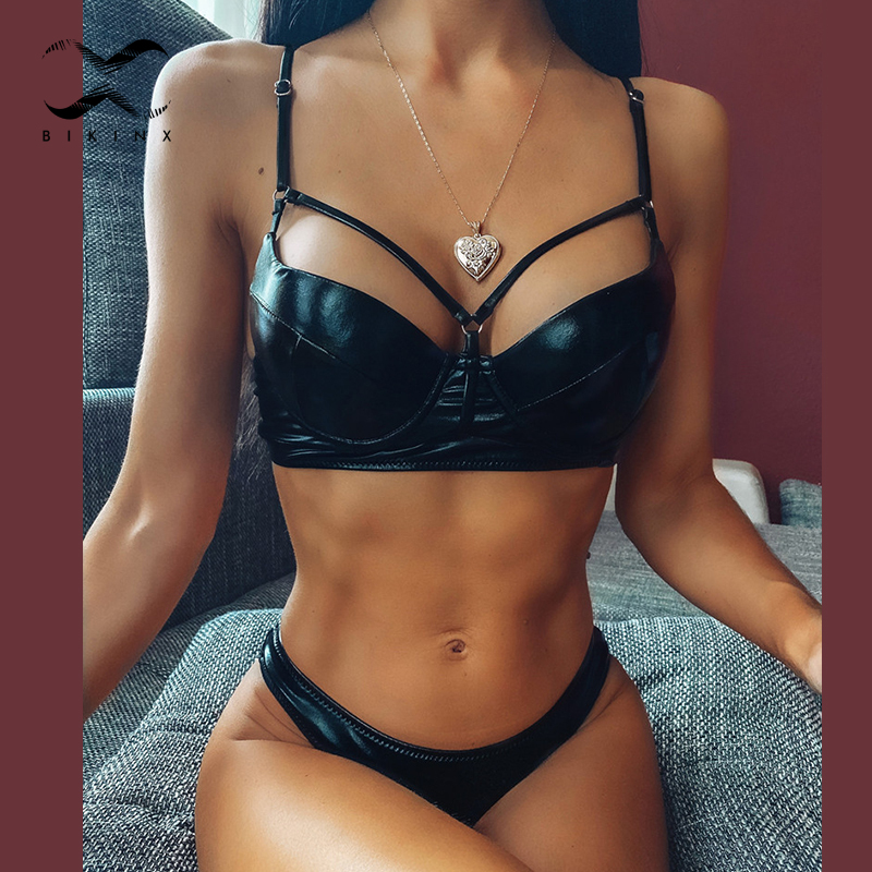 Solid Black Bikini Push Up Swimwear Women 2020 Leather Swimsuit Female High Cut Bathing Suit Bathers Hollow Out Ring Biquini New