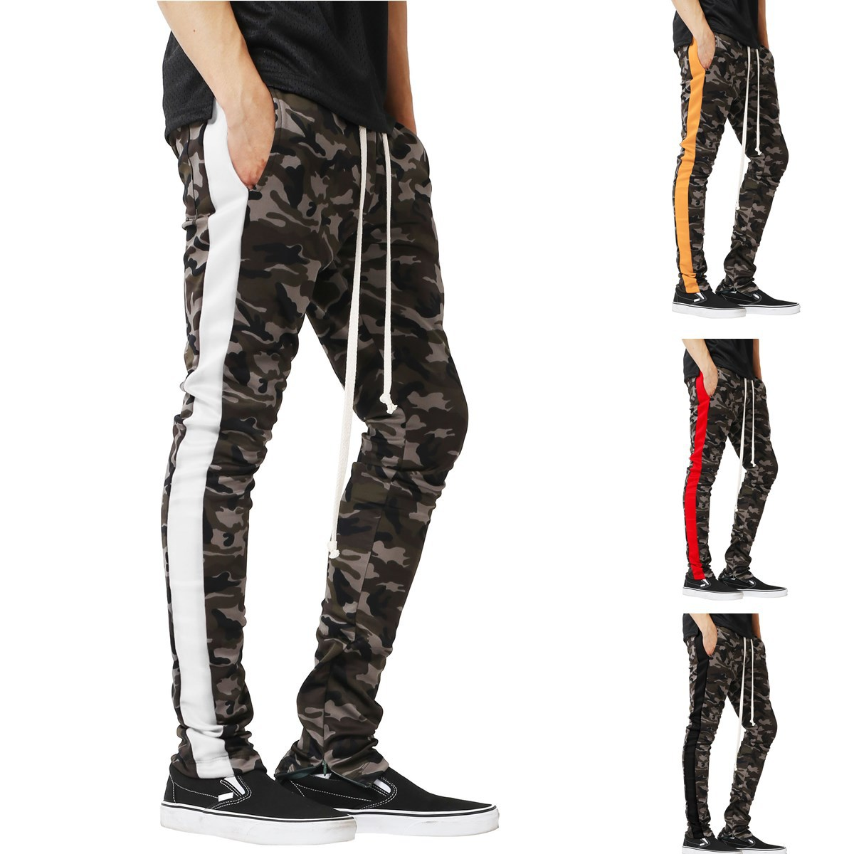 MEN'S Trousers Men Slim Fit Athletic Pants Camouflage Printed Mixed Colors Foot Mouth Zipper Casual Trousers