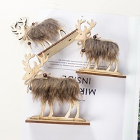 Christmas Decoration Household Wooden Felt Elk Gifts Table Decoration for Xmas Tree 2020 New Year Home Party Decoration