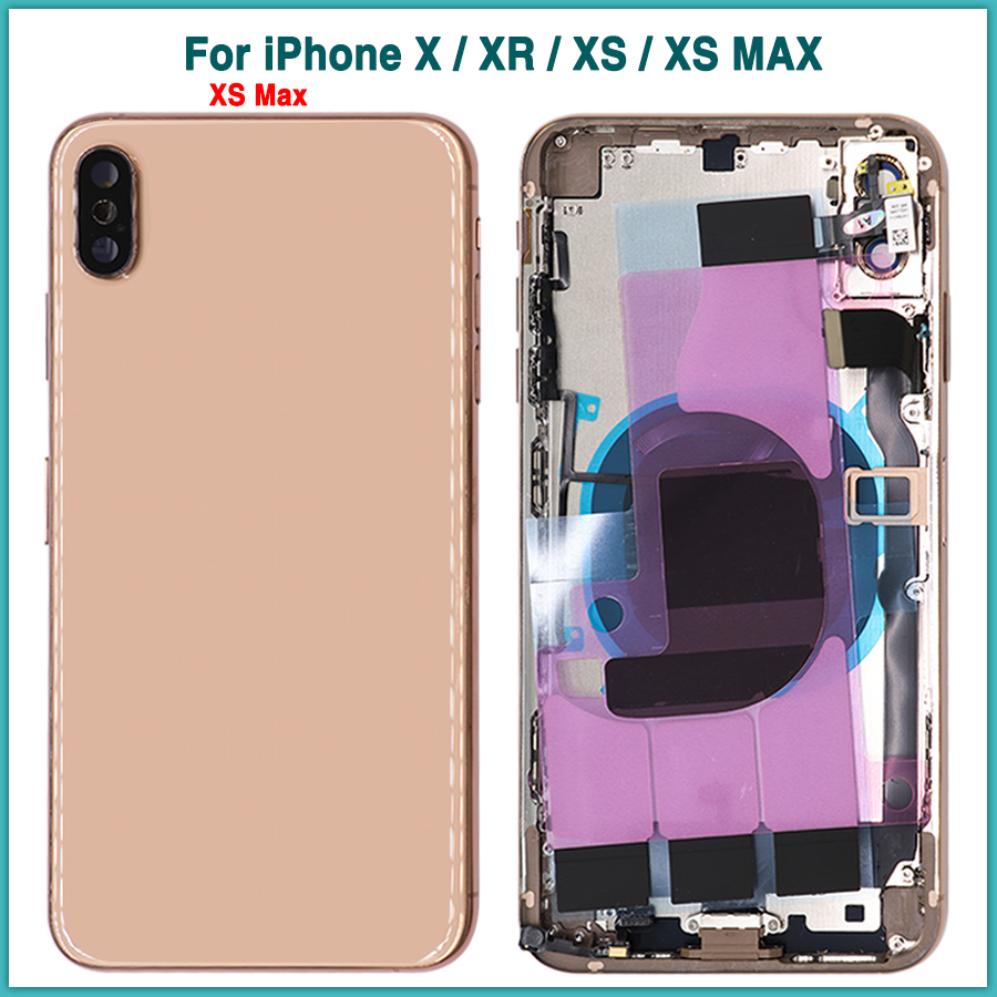 For IPhone XR XS MAX Battery Back Cover Door Rear Cover + Middle Frame Full Housing Case For IPhone X Flex Cable Sim Tray Parts