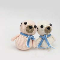 2019 cute 100% hand knitted crochet wool seal doll children's best gift toy accessories (finished products)